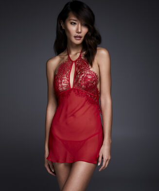Babydoll & String High Neck Lace, Rood