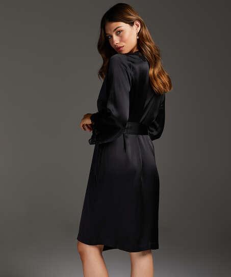 Kimono zijde lace trim, Zwart