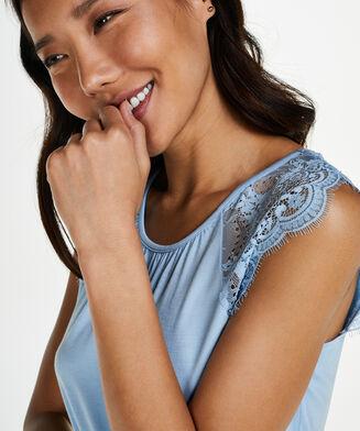 Singlet Jersey Lace, Blauw