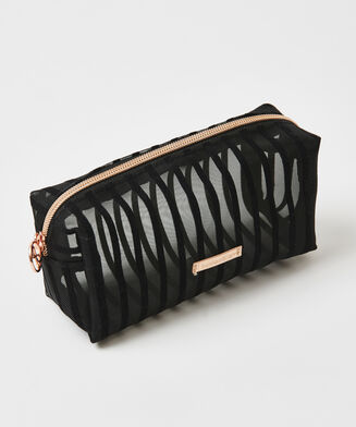 Make-up tas Stripe Mesh, Zwart