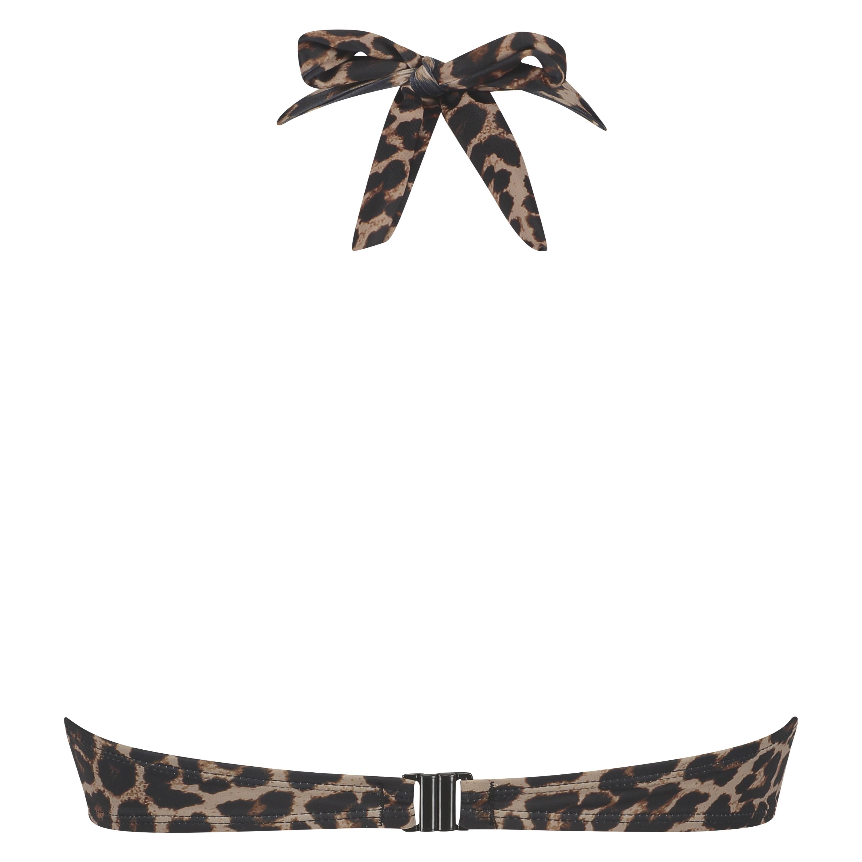 Voorgevormde push-up beugel bikinitop Leopard, Beige, main
