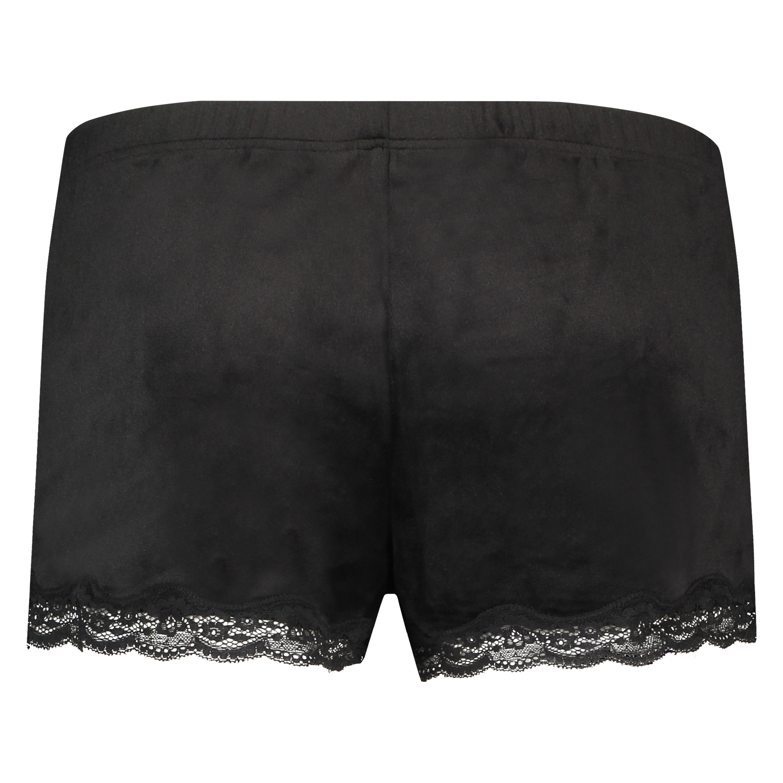 Shorts Velours Lace, Zwart, main