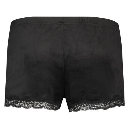 Shorts Velours Lace, Zwart