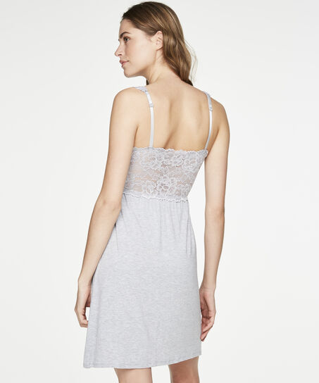 Slipdress Modal lace, Grijs