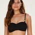 Voorgevormde bandeau bikinitop Crochet, Zwart