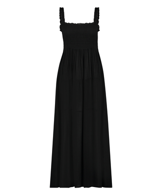 Maxi jurk Smocked, Zwart