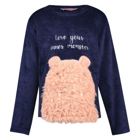 Fleece sweater Teens, Blauw