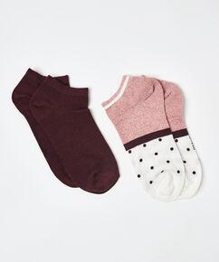 2 paar lurex sokken stippen, Roze