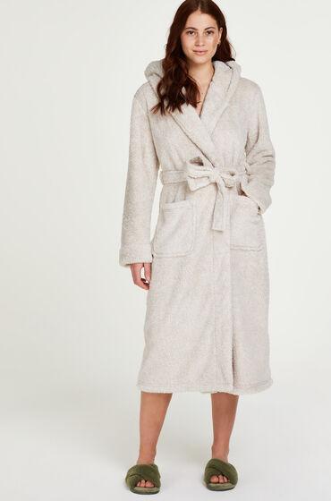 Hunkemoller Lange badjas Fleece Beige