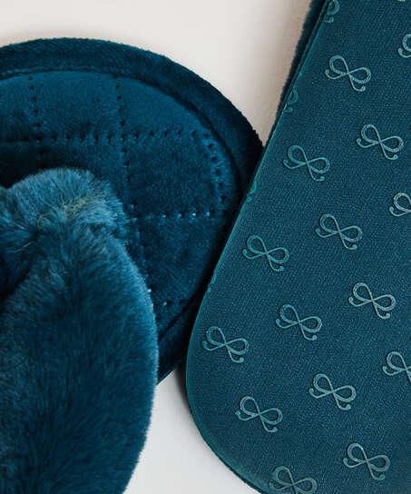 Slippers Velours fur, Groen
