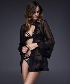 Kimono Chiffon Mesh Lace, Zwart