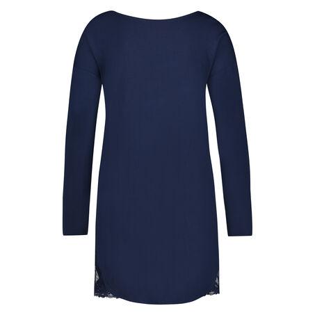 Nachthemd lange mouwen Jersey, Blauw