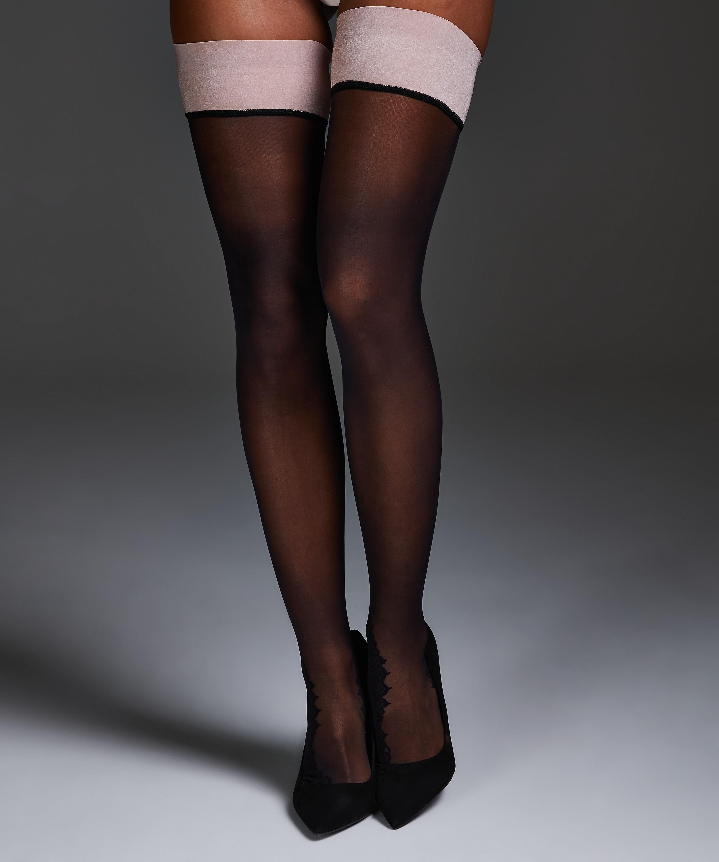 Noir Stay-up Delicate Lace, Roze, main