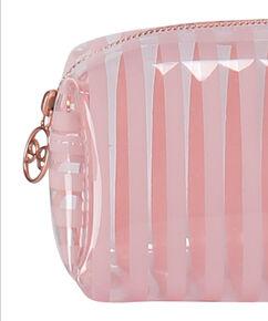 Make-up Tasje Stripe plastic, Roze