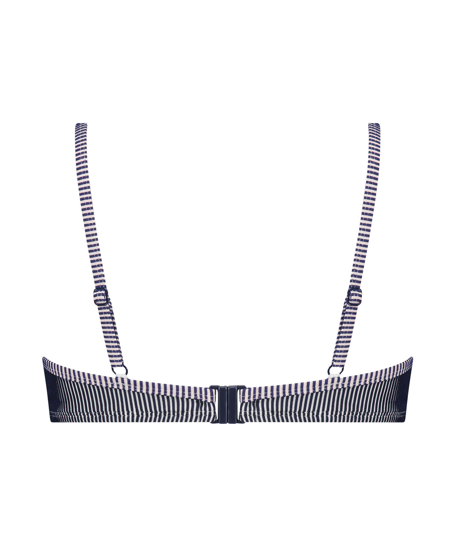 Voorgevormde beugel bikinitop Ruffle Stripe, Blauw, main