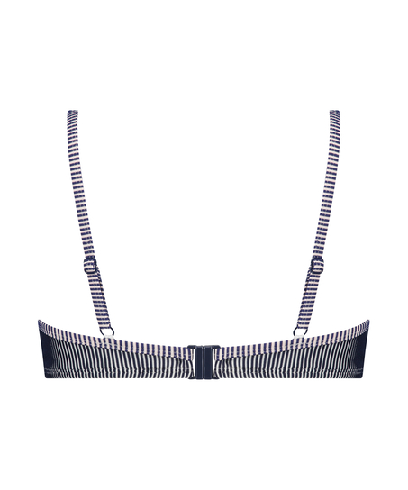 Voorgevormde beugel bikinitop Ruffle Stripe, Blauw