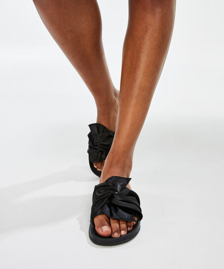 Slippers Satin, Zwart