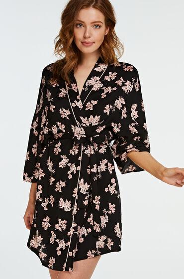 Hunkemöller Kimono woven blossom Zwart