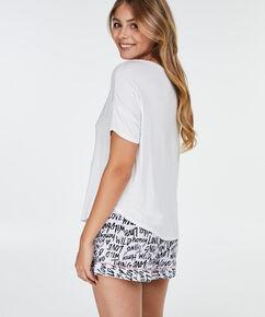 Pyjama top korte mouwen loose fit, Wit