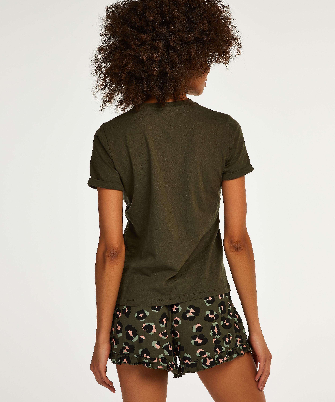 Pyjamatop korte mouwen ronde hals, Groen, main