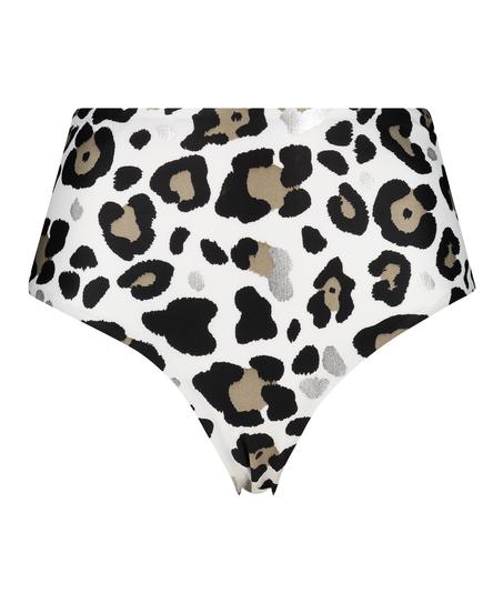 Hoog bikinibroekje Animal, Wit