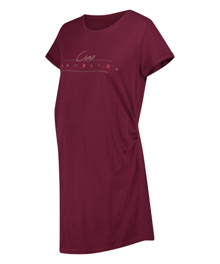 Zwangerschapsnachthemd met korte mouwen, Rood