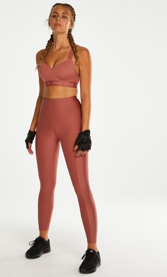 HKMX High waisted sport legging Shine On, Roze