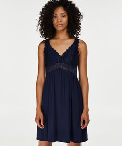 Slipdress Modal lace, Blauw