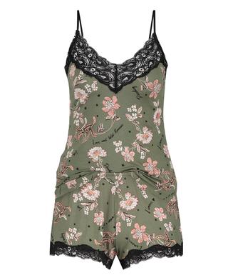 Korte pyjama set Flower Words, Groen