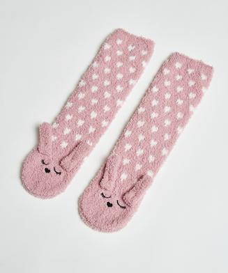 1 paar sokken Cosy Bunny, Roze