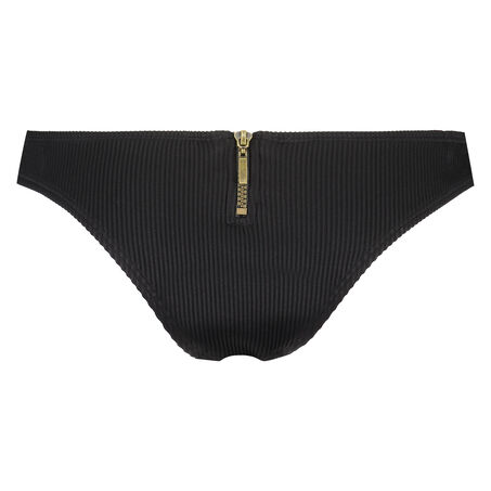 Laag cheeky bikinibroekje Victory Zip, Zwart