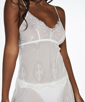Slipdress Mesh Lace, Wit