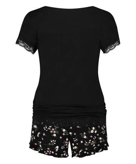 Zwangerschapspyjamaset Ditzy Flower, Zwart