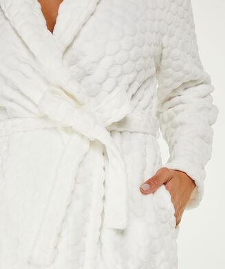 Lange badjas Fleece, Wit