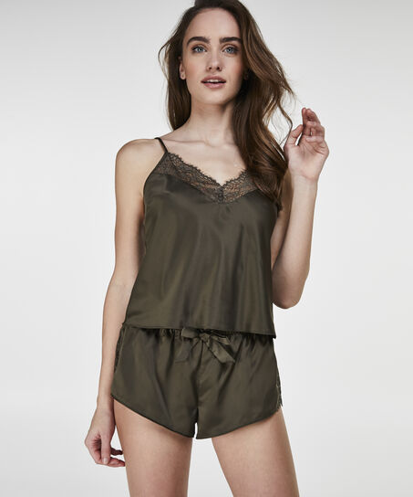 Korte Cami top Satin, Groen