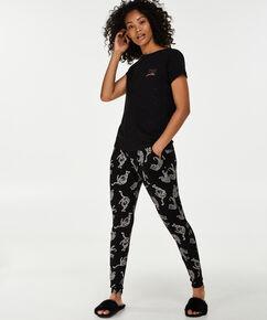 Pyjama top korte mouwen jersey, Zwart
