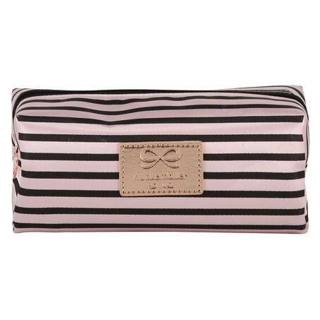 Make Up Bag Stripe Satin, Roze