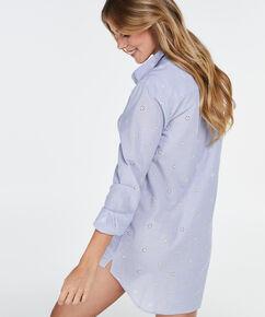Nachthemd Menshirt Chambray, Blauw