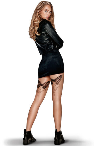 Hunkemöller Tights 20 denier butterfly tattoo Huidskleur