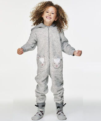 Fleece Onesie Kids, Grijs