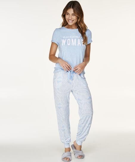 Korte mouwen pyjamatop, Blauw
