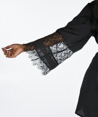 Lace Satin kimono, Zwart