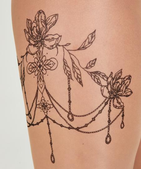 Panty 15 Denier Leg Tattoos, Beige