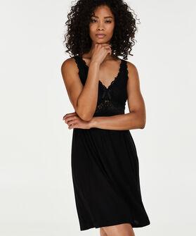 Slipdress Modal lace, Zwart
