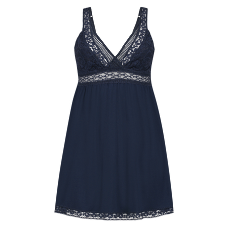 Slipdress Graphic lace, Blauw