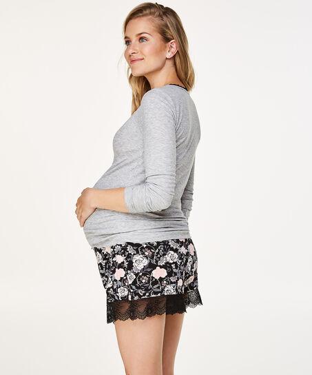 Pyjama zwangerschapsshort, Zwart