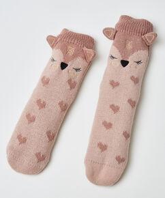 Slof sokken Vos, Roze