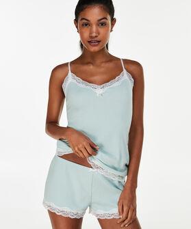 Korte pyjama set Rib, Blauw