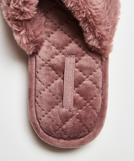 Slippers Fake Fur, Paars