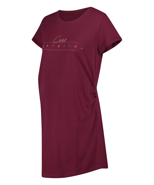 Zwangerschapsnachthemd korte mouwen Bambino, Rood, main
